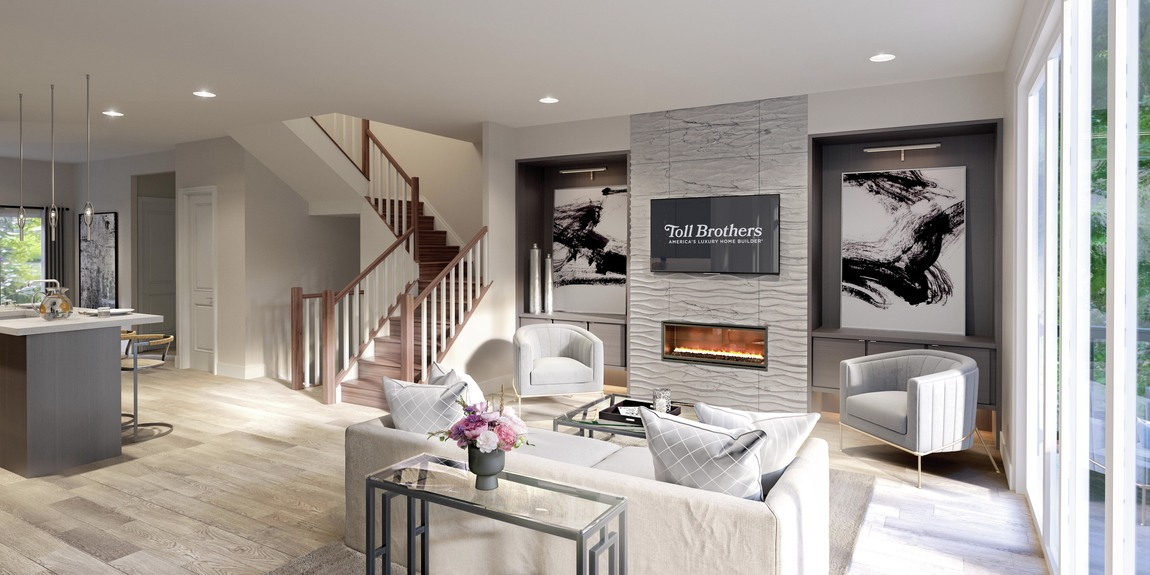 Great room with stunning modern fireplace