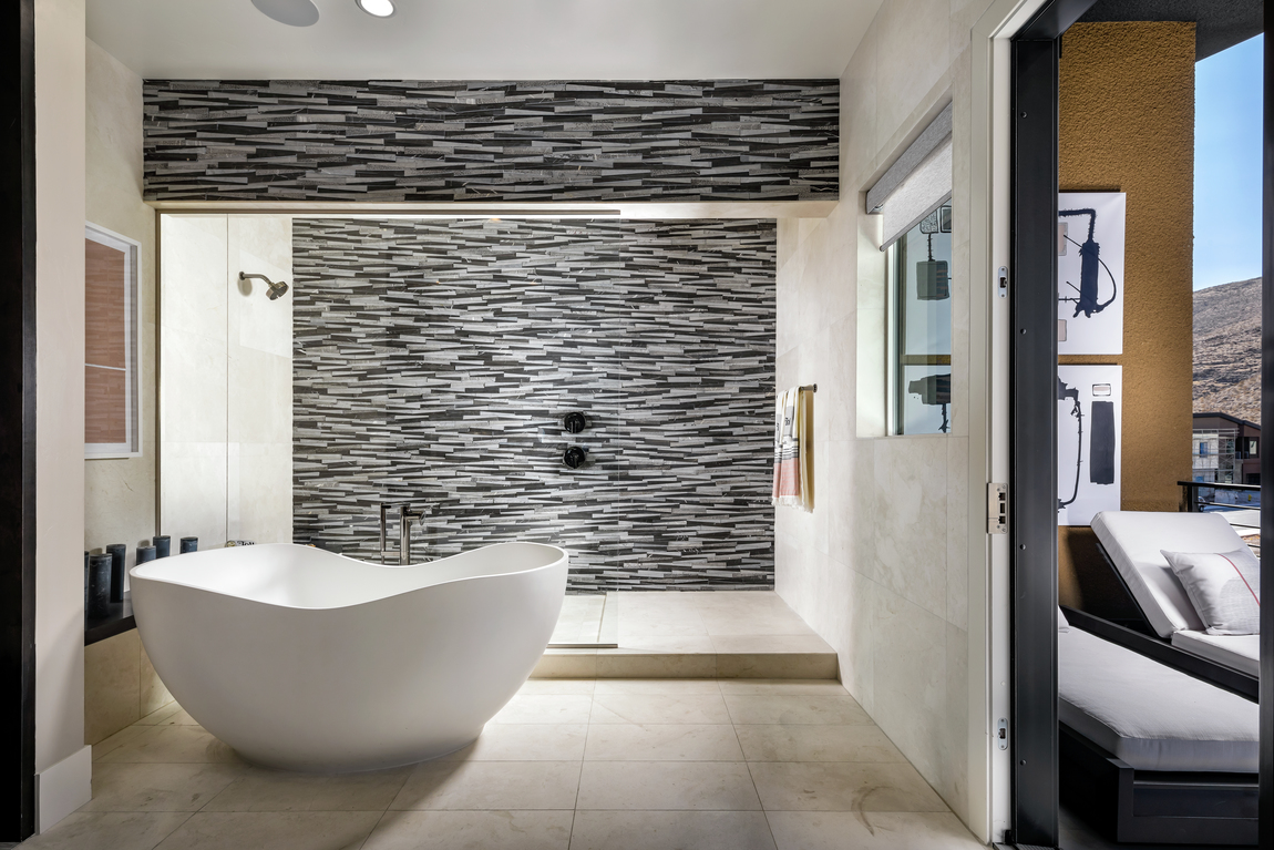 Bathroom with a large walk-in shower.
