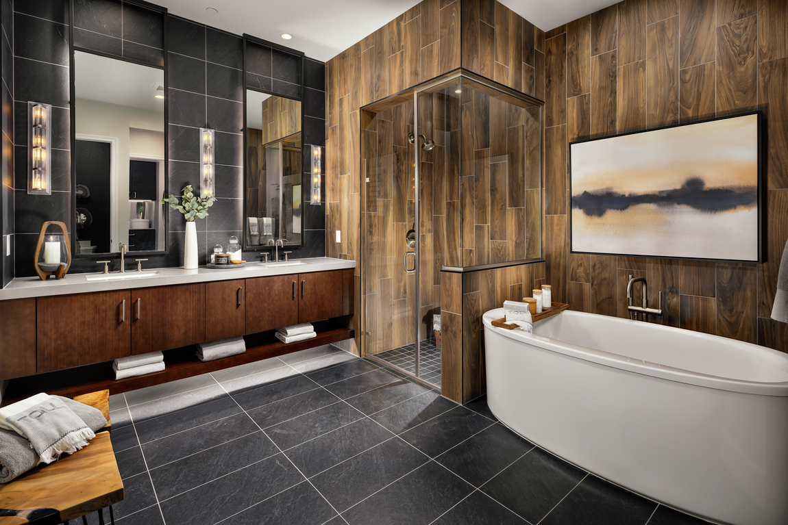 Bathroom with dark tiles and wood style tiles.