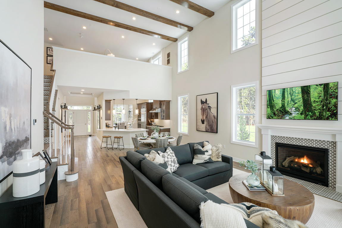 two-story great room full of charm and shiplap design