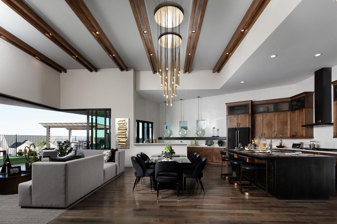 raised beam ceiling in great room