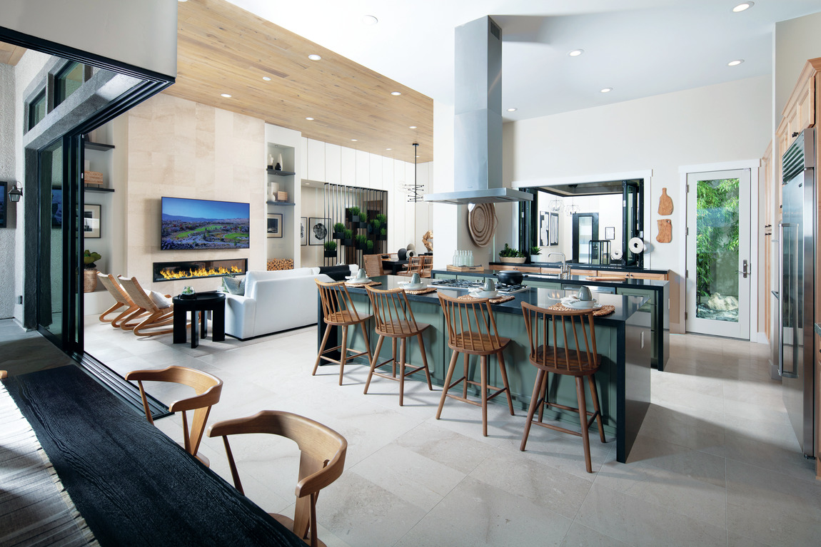 Spacious kitchen design with central island