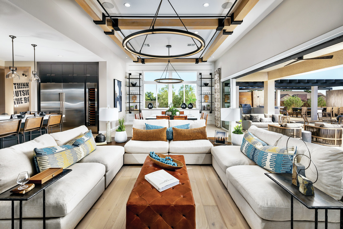 luxe modern great room with accent ceiling
