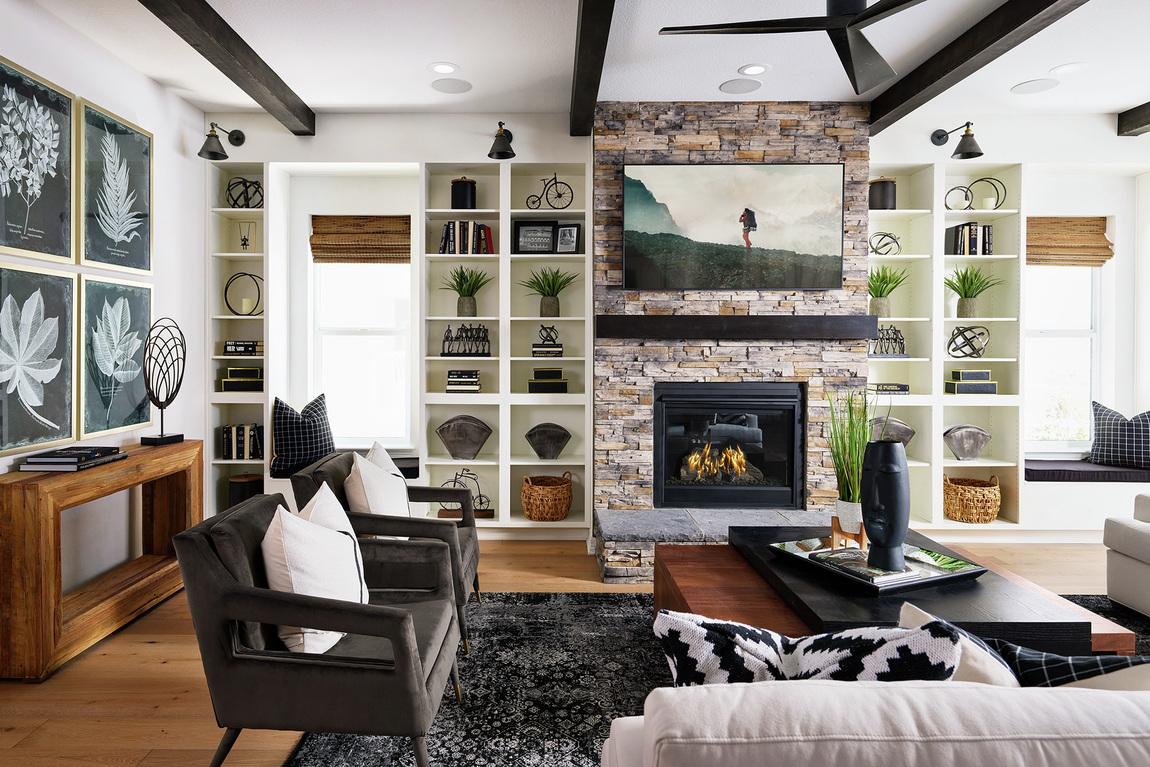 black wood beam ceilings in great room