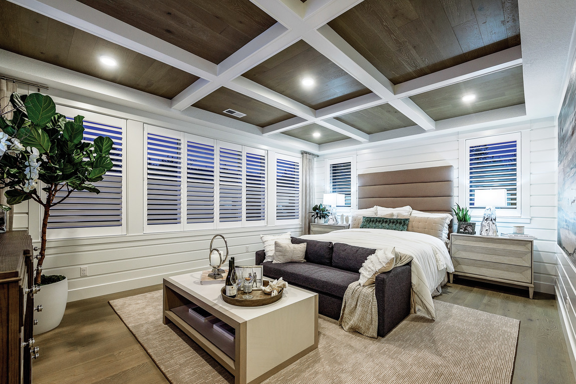 coffered ceiling in bedroom
