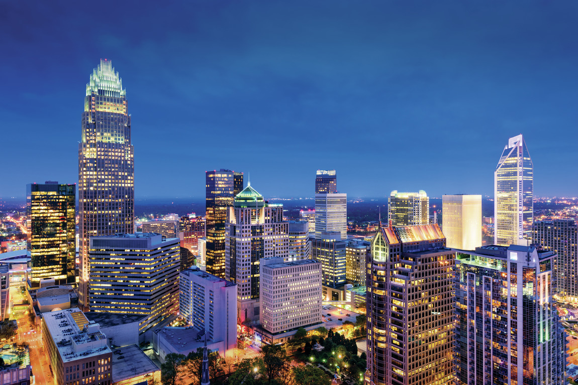Downtown Charlotte, a drive away from Tremont Station