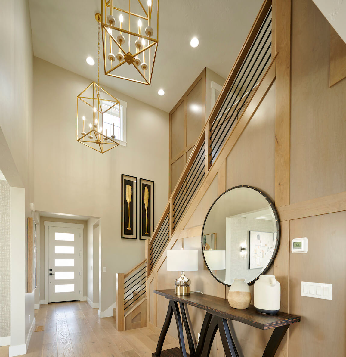 Foyer entryway with stunning lighting fixture designs