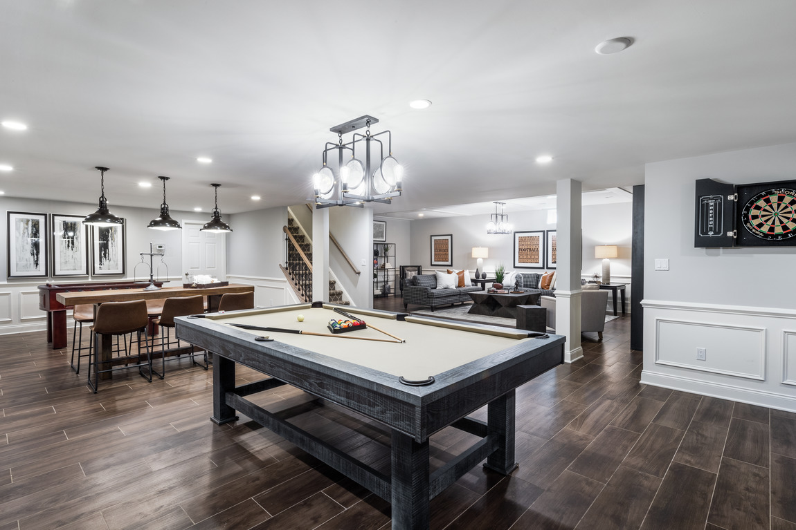 luxe basement with games