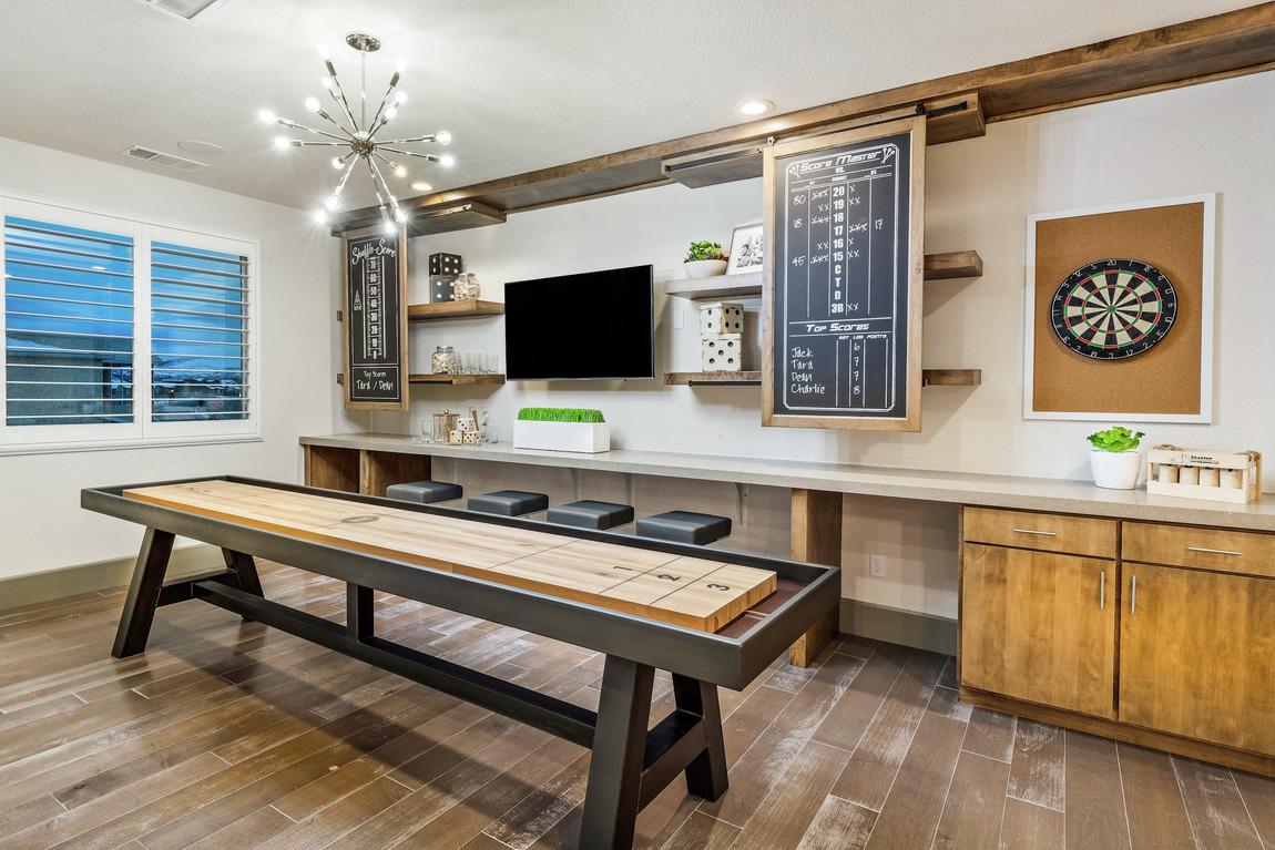 shuffleboard setup with scoreboard